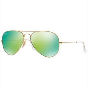 Rayban Aviators Green Mirror